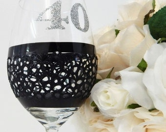 Black Lace Wine Glass 40th Birthday Gift For Her 40th Celebration Black and Silver Personalised Glass Made in Australia Lace