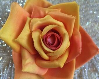 Darling Dusty Orange rose flower hair clip, vintage inspired, bridal, wedding, bridesmaids, pinup, rockabilly, burlesque, retro
