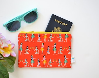 Hawaiian Zipper Bag, Hawaiian Print Zip Pouch, Summer Fashion, Travel Gift for Her, Passport Pouch, Pineapple Zipper Bag, Small Zipper Pouch