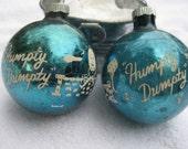 Vintage Shiny Brite Nursery Rhyme Two (2) BLUE Humpty Dumpty Stencil Christmas Ornaments