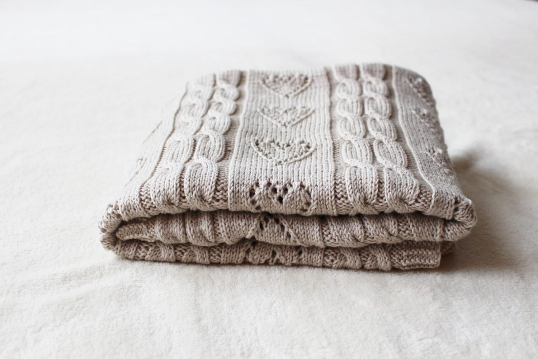 Hand Knitting Merino Wool Blanket : Merino wool baby blanket hand knit newborn