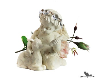 Distressed Shabby White Cherub Figurine Accented with a Vintage Crystal Halo, Shabby Home Decor, Wedding Decor, Valentine Decor