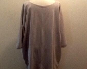Lagenlook tunic, dress, plus size, boho, shabby chic, minimalist, Parisienne farmgirl chic