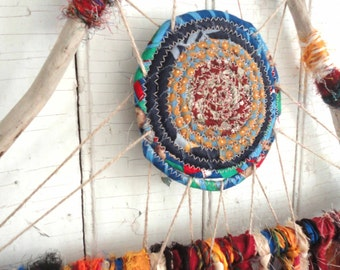 "DREAMCATCHER Rustic Driftwood & Sari Silk  Large 15"" Dream Catcher 302"
