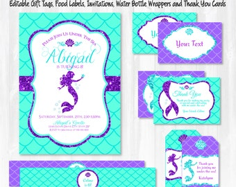 Mermaid Invitations - Mermaid Party - Mermaid Birthday  - Mermaid Labels - Mermaid Thank You Cards - Instant Download - Edit NOW!