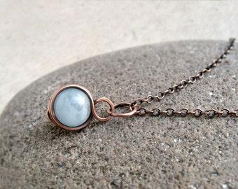 Aquamarine Wire Wrapped Pendant, March Birthstone, Copper, Sterling Silver, Simple, Minimalist, delicate, Throat Chakra, Courage Stone