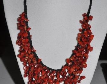 Bib Necklace Red Coral Jasper Chip #723