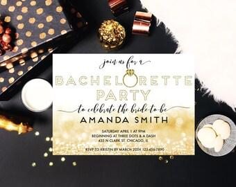 Printable Gold Glitter Bachelorette Invitation, Bachelorette Party, Ring Bachelorette Invite, Gold Glitter, Gold Printable Invite
