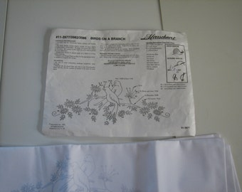 Herrschners embroidery, Birds on a Branch Pillowcases