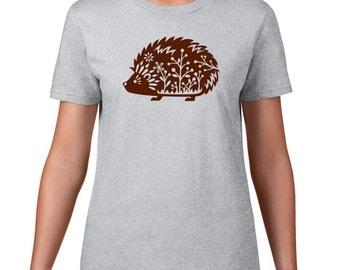 Whimsical Hedgehog T Shirt, Cute Hedgehog Tshirt, Funny T Shirt, Woodland Critter, Animal T Shirt, Funny Tshirt, Graphic Tee, Mens Plus Size