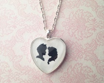 Handmade Elsa and Jack Frost Cameo Silhouette Heart Pendant Necklace // Disney Couple Necklace // Frozen Necklace