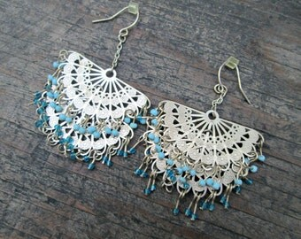 Fan Earrings, Flamenco Fan Earrings, Boho Fan Earrings, Bohemian Fan Earrings, Silver Toned Fan Earrings, Boho Chandelier Earrings