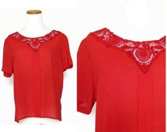 Red Lace Top / Cut Work Blouse / Red Lace Blouse / Sheer Red Top / Red Lace Shirt / Sheer Blouse / Cut Work Top / 80s Blouse / Embroidered