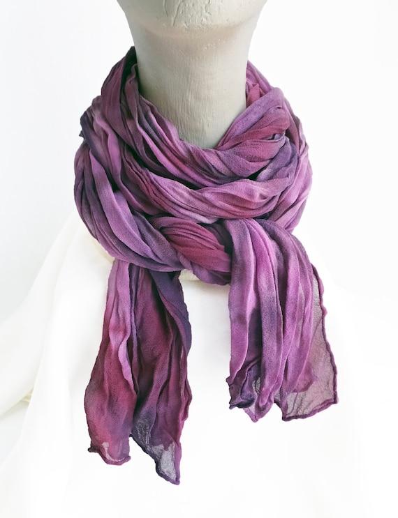 "Purple chiffon scarf - crinkle scarf - silk chiffon - large scarf - lavender, violet, plum, eggplant - hand dyed - 17"" x 74"""