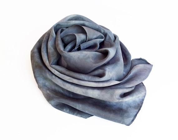 "Grey silk scarf - china silk - 8mm habotai silk - charcoal grey, silver, neutral - hand dyed - 13"" x 68"" - shades of gray"