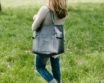 Leather diaper bag, large, leather tote bag, italian leather hide, black embossed leather, sea green lining with 7 pockets MADE TO ORDER