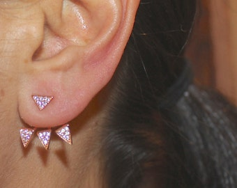THREE FINISHES Rose Gold Vermeil Sterling Silver Triangle Spike Ear Jackets
