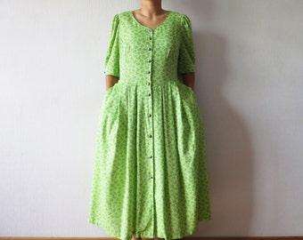 Vintage Dirndl Dress Oktoberfest Dress Austrian Folk Dress Cotton Summer Dress Floral Green Prairie Dress Bavarian National Folk Dress Large