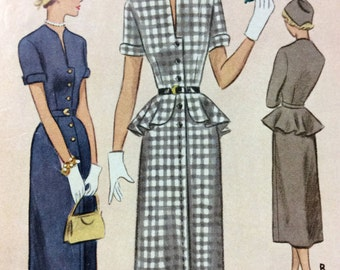 1950's Mad Men Style Dress - Vintage-Antique McCall's Sewing Pattern 8076 **UNCUT/Size 15