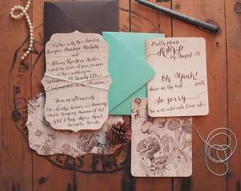 Rustic Die-Cut Wedding Invitations for a Woodsy Vintage Wedding - Printable or Printed - Hand Drawn Floral Wedding Invites - Neutral Colors