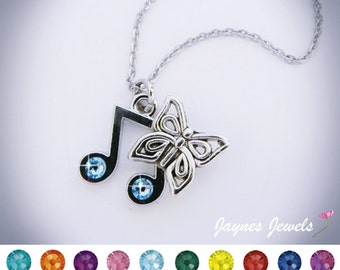 Music Note Necklace, Butterfly Necklace, Music Note, Semiquavers, Swarovski Crystal, Music Jewelry, ,