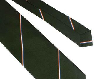 Schiphol Green Twill Striped Tie