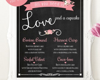 Custom Printable Cupcake Menu- Great for parties and weddings!