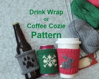 Coffee Cozie - Drink Wrap  Paw Print - Bunny - Snowflake Knitting Pattern