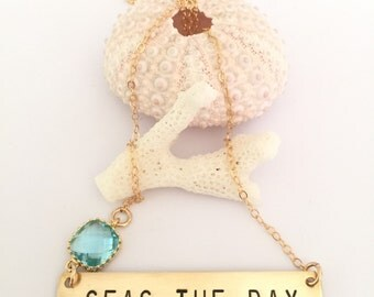 Seas The Day Stamped Bar Layering Bohemian Necklace Custom