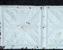 """antique ceiling tile, 24"""" by 48"""", mid 1800's salvaged church ceiling tin; victorian design, chippy white, old fashioned pale blue"""