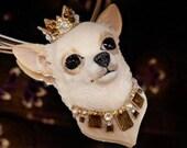 OOAK Royal Chihuahua Necklace Polymer Clay lifelike