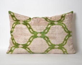 Contemporary Pillow Cases 16x24 Velvet Ikat Pillow Cover cream ivory green pillows for couch modern interior design geometric pillow
