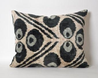 Black Ikat Pillow Cover - Ikat Pillows Velvet Lumbar Cream And Black Pillows Living Room Pillow Decorative Throw Pillows Accent Pillow