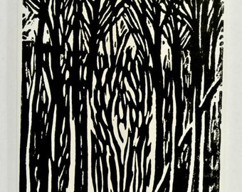block print card of woodland trees