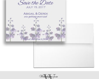 Lavender Save the Date Cards, Purple Floral Weddings Announcements, Pretty Florals Invites, Romantic Wedding Invites