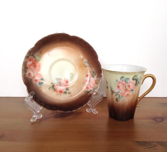 Vintage Haviland France cup and saucer rose demitasse gift for mom