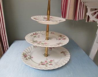 Tiered Cake Plates, cake plate, 3 tier,  Limoges, porcelain,  Haviland, roses, fluted edges, party, stylish