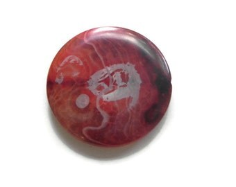 1 large focal fire agate round bead 50mm