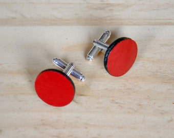 Red cufflinks, Groom cufflinks, Leather cufflinks, Custom cuff links, Wedding accessories for him, Father daughter gift, Valentines for him