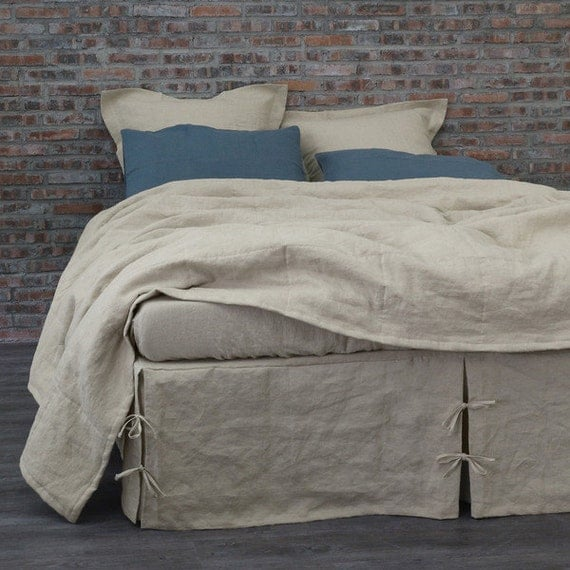 queen size natural gray bed skirt 60 39 39 x80 39 39 by thenewhome1. Black Bedroom Furniture Sets. Home Design Ideas