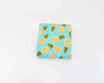 Pineapple Swaddle Blanket, Girl Swaddle Blanket, Summer Receiving Blanket, Pineapple on Turquoise Swaddler, Lightweight Cotton Blanket