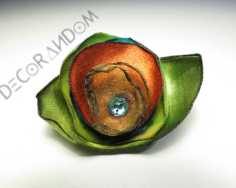 Orange brooch brooch with Rhinestone, rhinestone turquoise orange flower, recycled fabric, floral pin brooch made of recycled fabric spf6