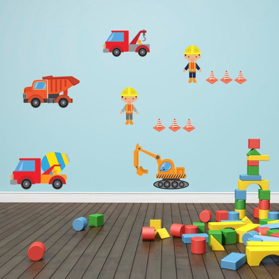 Construction site wall stickers building site wall decals for Construction site wall mural