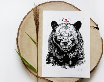 Black Bear Illustration Linocut Print