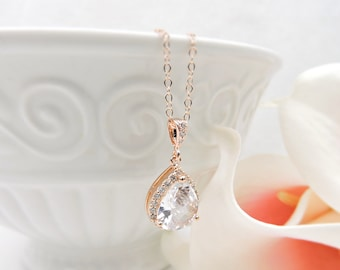 FREE US Ship Rose Gold Cubic Zirconia Bridal Necklace Pink Gold Bridal Necklace CZ Teardrop Bridal Necklace Rose Gold Bridal Jewelry