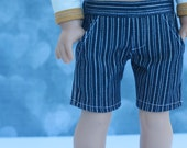 American BOY Doll Clothes | Blue White Stripe Woven SHORTS for 18 inch doll such as American Girl Doll