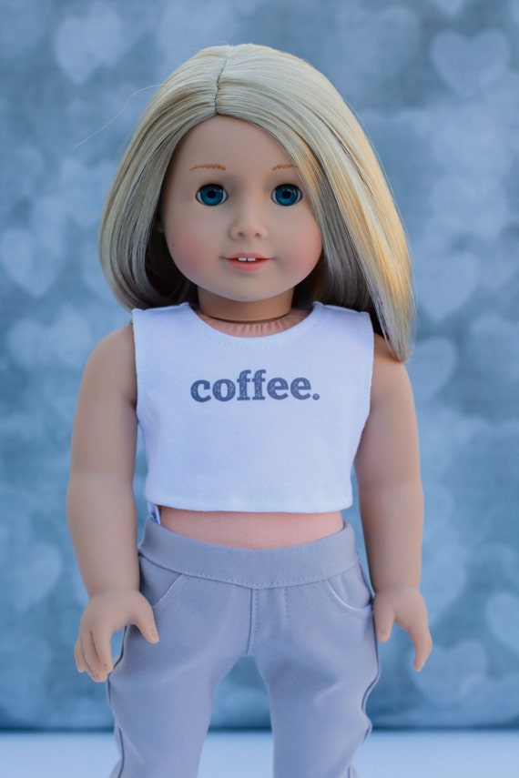 American Made Doll Clothes | Coffee CROP TANK TOP for 18 inch doll such as American Girl Doll