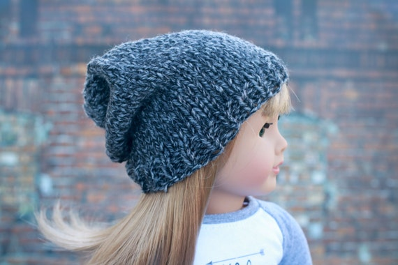 AG Doll Clothes | Charcoal Gray Hand Knitted Slouch Slouchy HAT for 18 Inch Dolls such as American Girl