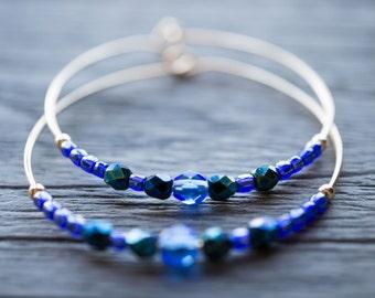 evening / indigo and cobalt blue gold hoop earrings
