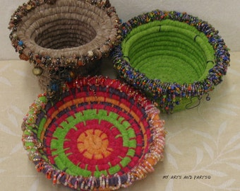 Special OFFER! Yarn Coiled Beaded Basket Kit, Includes digital downloaded Pattern. Supplies will be mailed, Basket Weaving, DIY Basket